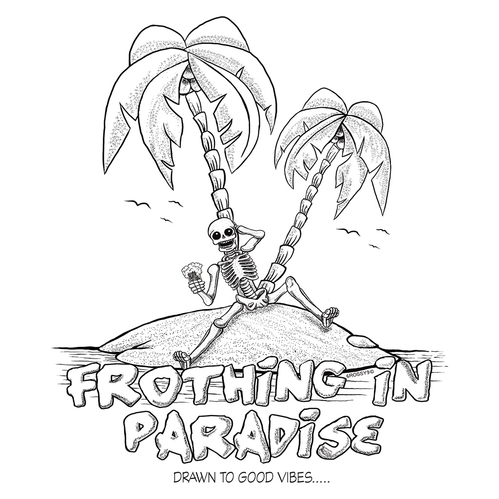 Frothing in Paradise Sticker