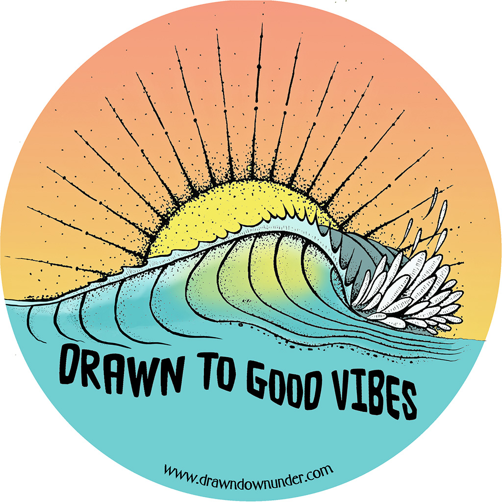 Drawn to Good Vibes Wave Sticker